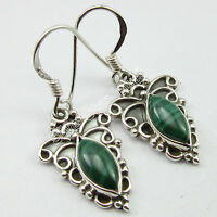 """OLD STYLE, 925 Solid Silver MARQUISE MALACHITE ART WORK Earrings 1.3"""" OXIDIZED"""
