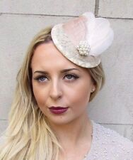 Beige Camel Cream Nude Feather Pillbox Hat Fascinator Hair Clip Vtg Races 2944