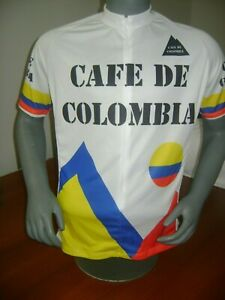 COLOMBIA BIKE JERSEY CAFE RETRO BIKES SHIRT SIZE M COOL COLUMBIAN CLIMBER WHITE