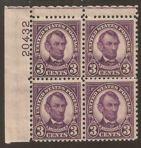 US Sc#635 Mint hinged 3c Lincoln plate block  2 scans