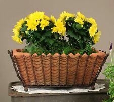 Unique Rustic Decorative Rectangular Wire Basket with Terra Cotta Pot Green/Rust