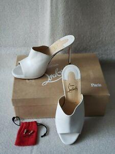 NIB Christian Louboutin 37 6.5 7 Pigamule 100 Snow White Mule Heels Pumps Sandal