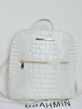Brahmin Croco Leather Pearl Melbourne White Felicity Backpack