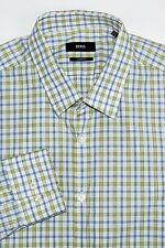 HUGO BOSS Sharp Fit Men's Button Front Dress Shirt Green Blue Size 17 1/2 34/35