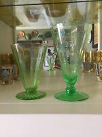 Lot Of 2 Green Optic Footed Cone Tumbler Glasses Uranium Glow Depression Glass
