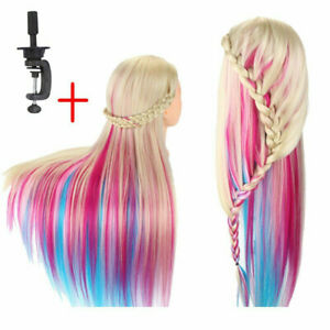 "26"" Color Salon Human Hair Mannequin Hairdressing Training Head Doll with Clamp"