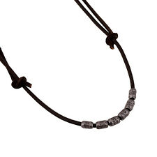 Bullet Shells New Men's Leather Surfer Necklace Brown Metal Chain Choker S50