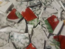 Mosaic Tiles Broken Plate Green And White With Reds And Tans 110 Tiles