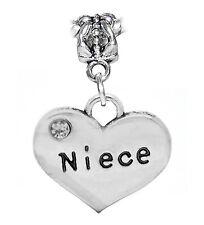 Niece Heart Clear Rhinestone Aunt Gift Dangle Charm for European Bead Bracelets