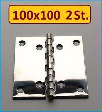 2 Stück INOX Edelstahl VA A2 Scharnier 100x100mm