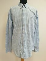 D4 MENS POLO RALPH LAUREN BLUE WHITE CHECK LONG SLEEVE SLIM SHIRT UK XL EU 54