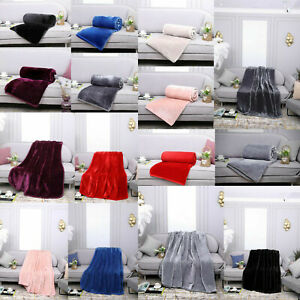 New Large Luxury Faux Fur Throw Sofa Bed Lounge Soft Warm Blanket Double & King