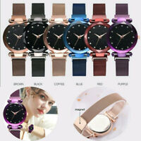 Women Quartz Starry Sky Watch Waterproof Magnet Strap Buckle Diamond Wristwatch