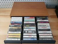 Classic Rock 80s Country Music Cassette Tape Collection w/Vintage Case Lot of 36