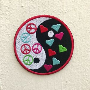 Yin Yang Peace and Heart Logo Iron on Sew on Embroidered Patch