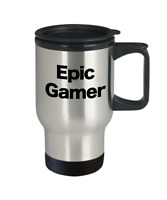 Epic Gamer Mug Travel Coffee Cup Funny Gift DND Geeks Nerds Players Video Board