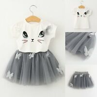 2PCS Toddler Kids Baby Girls Clothes T-shirt Tops+Tulle Mesh Dress Skirt Outfits