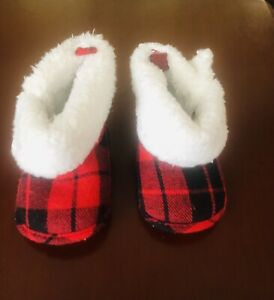 Just One You by Carter's Red Plaid Holiday Bootie Slipper Shoe Fur Trim 0-6m