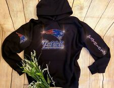 New Women's New England Patriots Hoodie Sweatshirt size 2X Rhinestones Bling