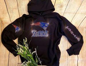 New Women's New England Patriots Hoodie Sweatshirt size Large Rhinestones Bling