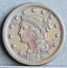 More details for usa copper braided hair large cent, 1848. ef