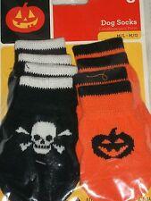 Halloween Dog Socks Costume Medium Large Med Lg Black Skulls Orange Pumpkin Set