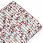 Cotton Fabric per FQ Pink Rose Flower on Retro Stripe Quilt Patchwork Craft VK64