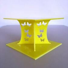 Butterfly Design Square Wedding/Party Cake Separators - Yellow Acrylic