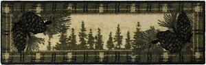 """Pine Cone"" STAIR TREAD SET Lodge Cabin Mat Rug Non-Slip Rubber Backing Beige"