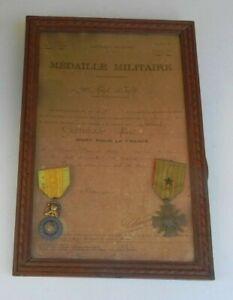 DIPLOME ENCADRE + 2 MEDAILLES GUERRE 1914/1918- MEDAILLE MILITAIE avec ETOILE