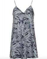 TOPSHOP Moto Blue Tropicana Denim Palm Print Babydoll Tunic Beach Dress size 10