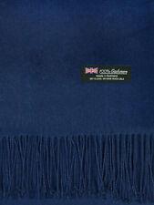 Oversized Blanket 100% Cashmere Scarf Shawl Wrap Solid Scotland Wool Navy