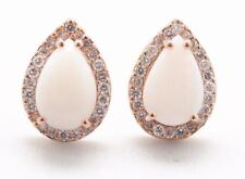 18K Rose Gold Opal and 0.30ct Diamond Halo Stud Earrings
