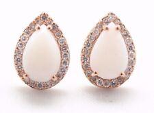 Opale Oro Rosa 18K e 0.30 KT Diamante Orecchini a Perno Halo