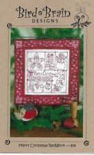 Bird Brain Designs-Merry Christmas Redwork-Santa, Angel,Stocking,Mittens