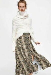 ZARA snakeskin print midi skirt with front split S UK 8 decorative buttons