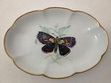 LEC Limoges France Monarch Butterfly Nut / Candy Dish / Tray And Gold Trim