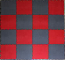 GREY & RED CHECK PVC INTERLOCK TILES / GARAGE FLOORING /RUMPUS/ GYM/ ALL PURPOSE
