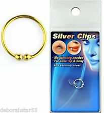 FAKE Nose Ring Lip STERLING SILVER under Gold Plate  Cheat Piercing 8mm