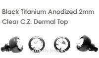 2mm Flat C.Z. 14G Black Titanium Anodized 316L Surgical Steel Dermal Anchor Top