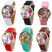 Women Girl Geneva Leather Rose Flower Watch Quartz Watches