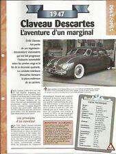 VOITURE CLAVEAU DESCARTES FICHE TECHNIQUE AUTO 1947 COLLECTION CAR