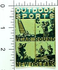 Original 1890-1910 Outdoor Sports Year Round New Orleans Poster Stamp Label F50