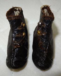 Belle paire de bottines XIXème cuir poupée parisienne Jumeau, bru marquées 3