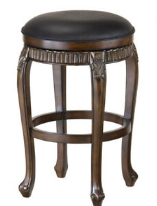 Hillsdale Backless Stool Distressed Cherry w/Copper Highlights & Leather Seat.