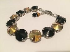 Swarovski Crystal Elements Black & Metallic Gold Bracelet 12mm Silver Cup Chain