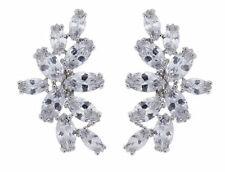 Cubic Zirconia Silver Plated Oval Costume Earrings