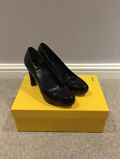 Authentic FENDI Pumps High Heels Platforms In Burgundy Patent Leather UK 3 EU 36