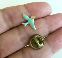 Vintage Blue Bird of Happiness Enamel Gold Tone Tie Tack Pin