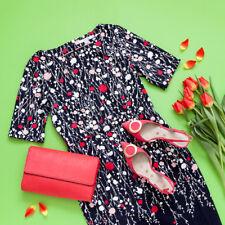 New Boden bestselling Fleur Fitted Navy Trailing Floral Dress size 12L UK/ 8L US